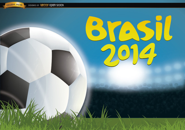 Free Brasil 2014 Football in grass of field