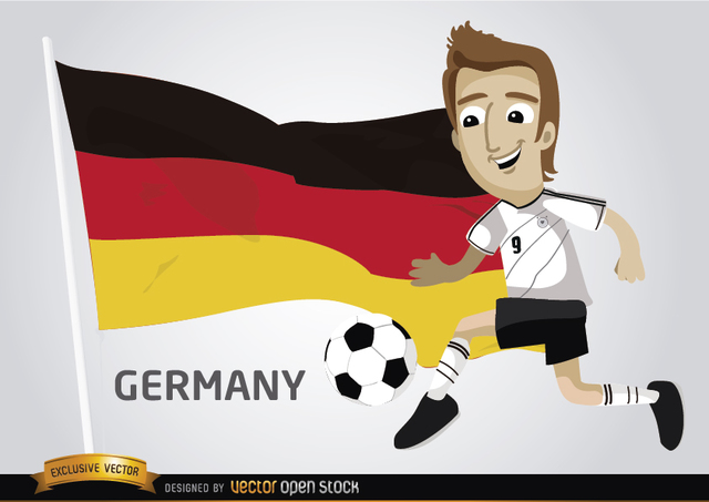 Free German footballer with flag