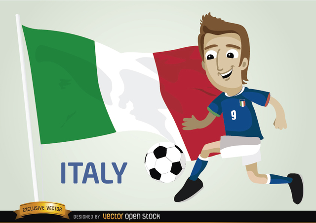 Free Italian footballer with flag