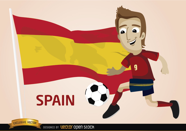 Free Spain football player with flag