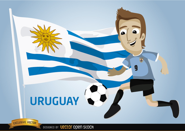 Free Uruguayan football player with flag