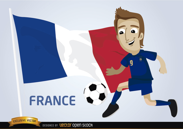 Free France football player with flag