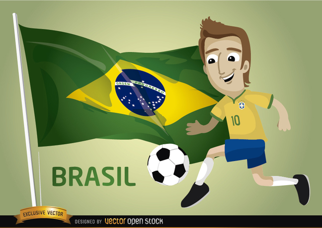 Free Brasil football cartoon player flag