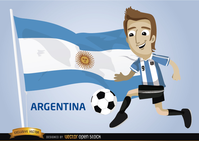 Free Argentina football cartoon character flag