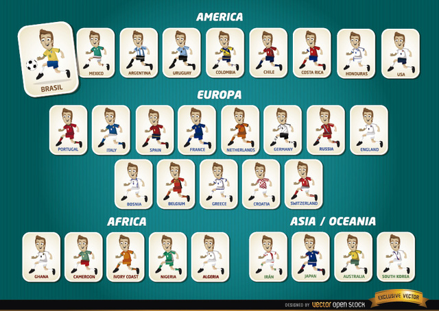 Free Cartoon football players teams Brazil 2014