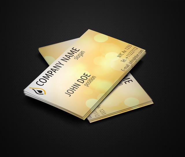 Free Shiny Yellow Business Card