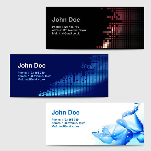 Free 3 Business Cards with Abstract Pixilated Artwork