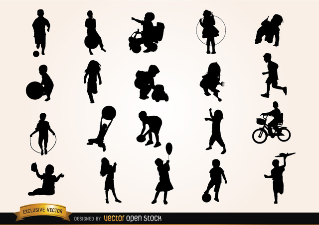 Free Vectors: Kids playing Silhouettes | Vector Open Stock