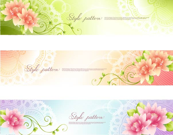 Free 3 Floral Banners with Swirls