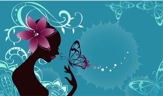 Free Vectors: Butterfly Girl Fashion Art with Floral | Vector Background