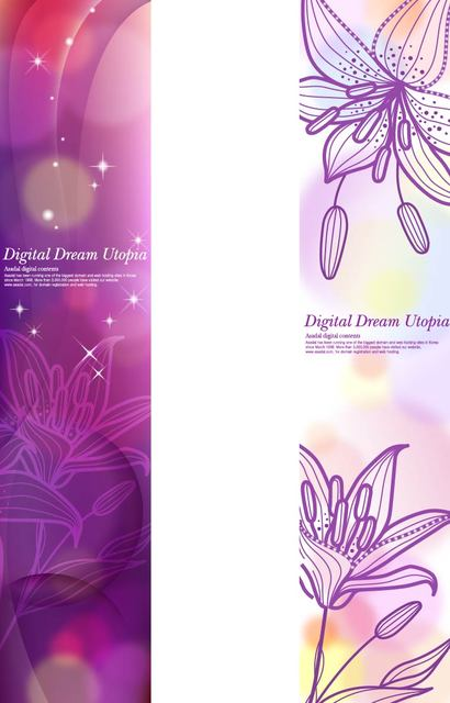 Free Shiny Purple Brochure Template with Lily