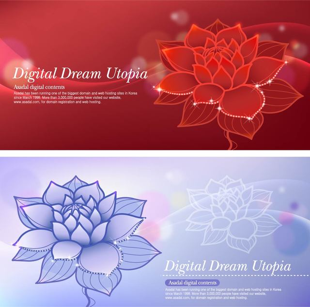 Free Lotus Dream Red and Blue Background