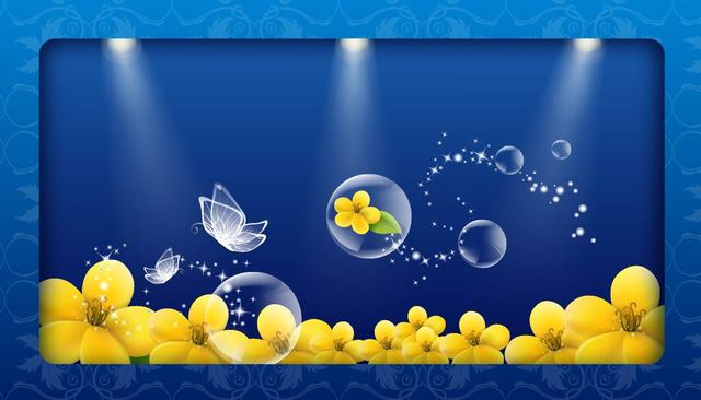 Free Fluorescent Crystal Butterfly Bubbles and Floral Background