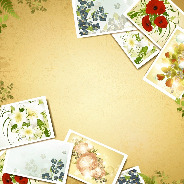 Free Vectors: Vintage Background with Floral Photograph | Kho Vector