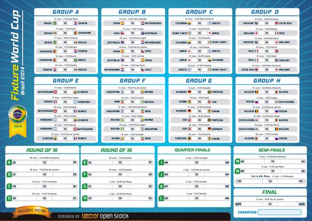 Free Fixture World Cup Brazil 2014