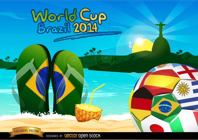 Free Brazil 2014 ball on Rio beach