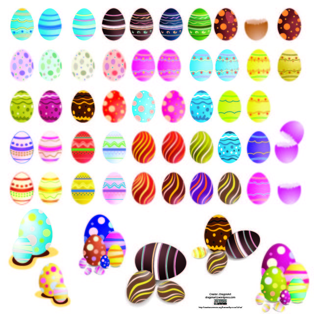 Free Decorated Colorful Easter Egg Set