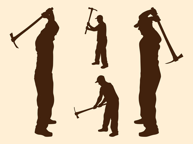 Free Labor Men Silhouettes with Pickaxes