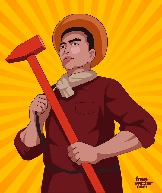 Free Day Laborer Cartoon with Hammer