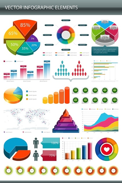 Free Vectors: Glossy Colorful Infographic Elements | Kho Vector