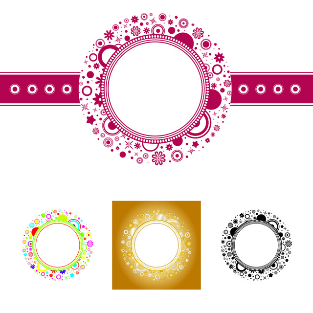 Free Elliptical Floral Frame Template