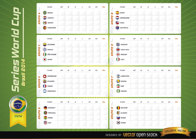 Free Team groups board Brazil 2014 Worldcup