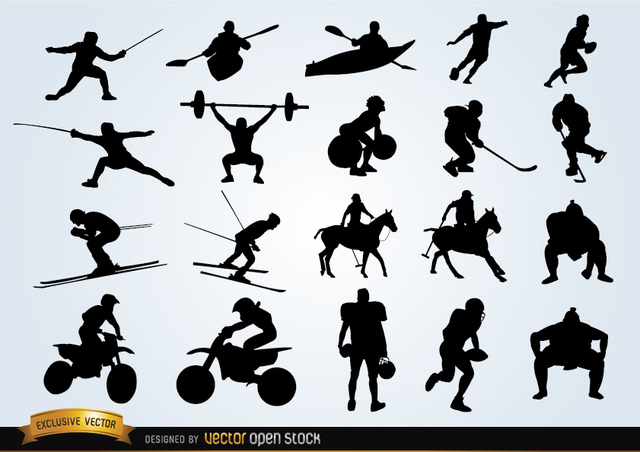 Free Vectors: Sport silhouettes pack | Vector Open Stock