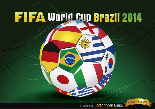 Free Brasil 2014 Footaball with Team Flags