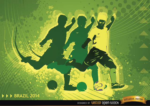 Free Vectors: Soccer Player in Brasil 2014 Background  | Vector Open Stock