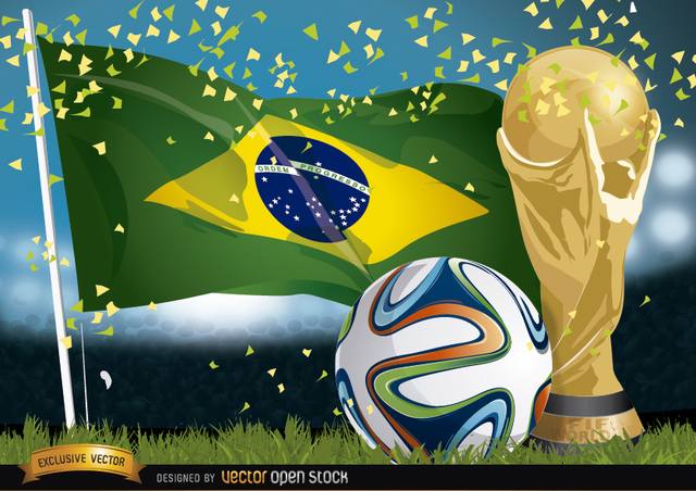 Free Brasil 2014 Football, Flag and Trophy