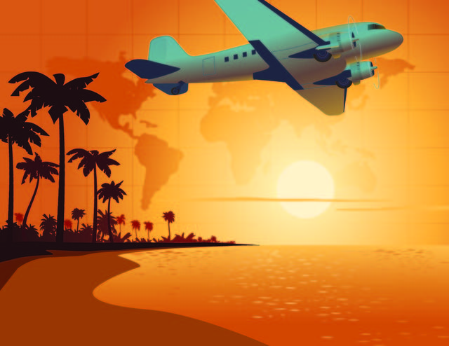 Free Travel Scene with Airplane & Beach Sunset