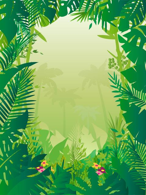 Free Tropical Frame Styled Jungle Background