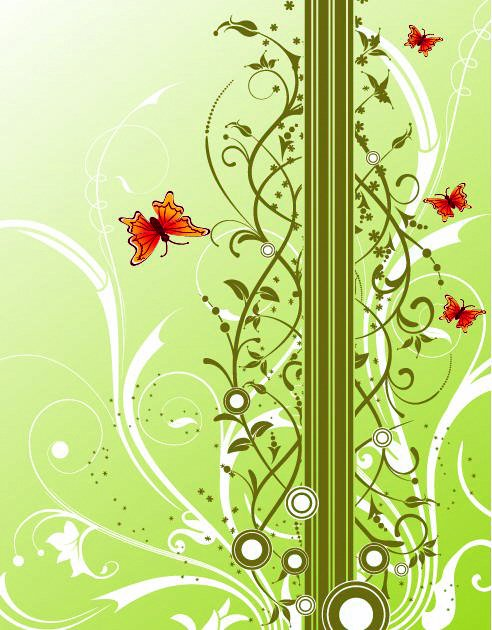 Free Fresh Background with Floral and Butterflies