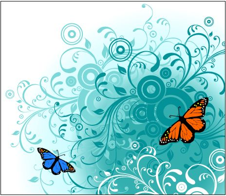 Free Swirling Floral Background with Butterfly