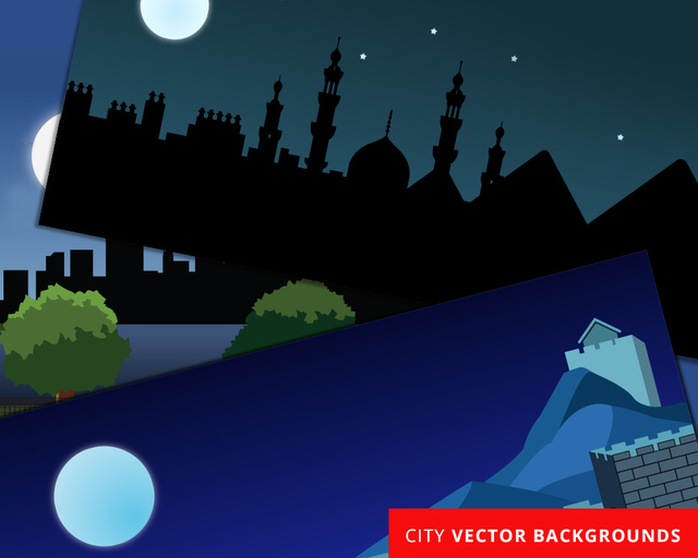 Free Vectors: New York Chinese Wall and Egyptian Landscape | Vectorize Images