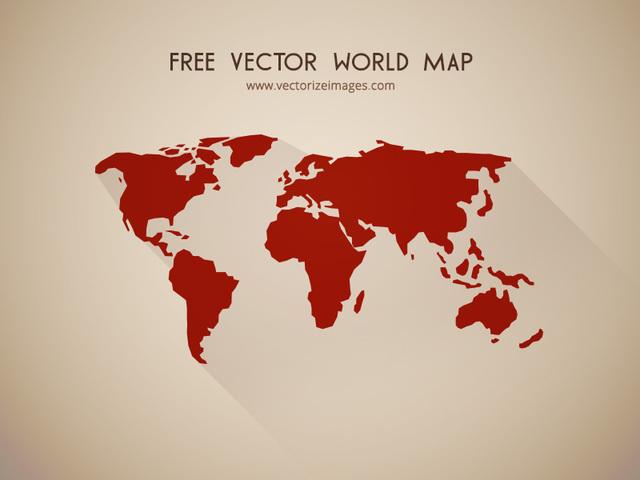 Free Flat Detailed Shape World Map