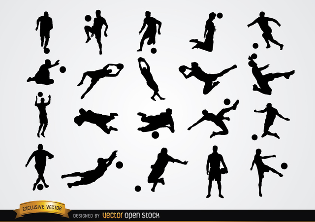 Free Vectors: 20 Soccer player silhouettes  | Vector Open Stock