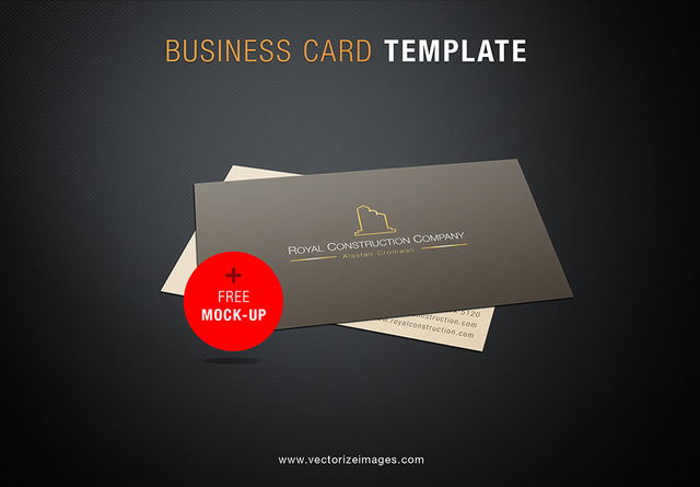 Free Construction Company Business Card Mockup