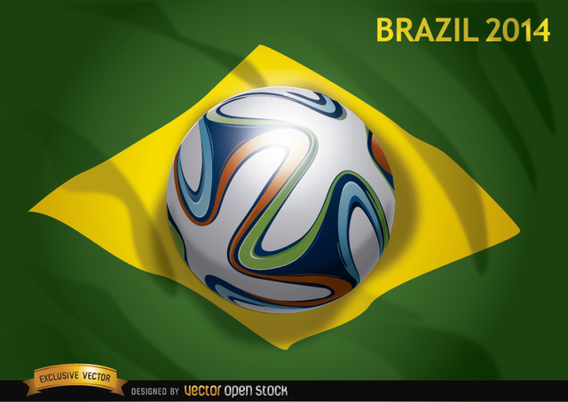 Free Brazil flag 2014 with official soccer football