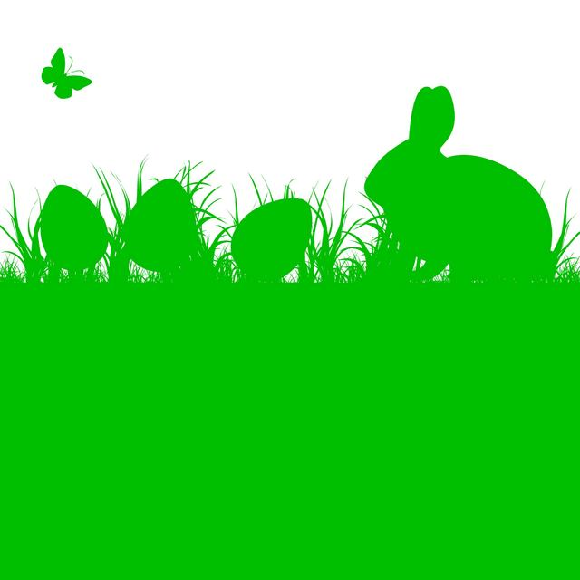 Free Silhouette Easter Bunny and Eggs on Grass