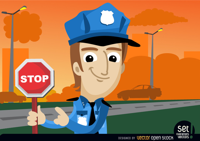 Free Policeman with stop warning