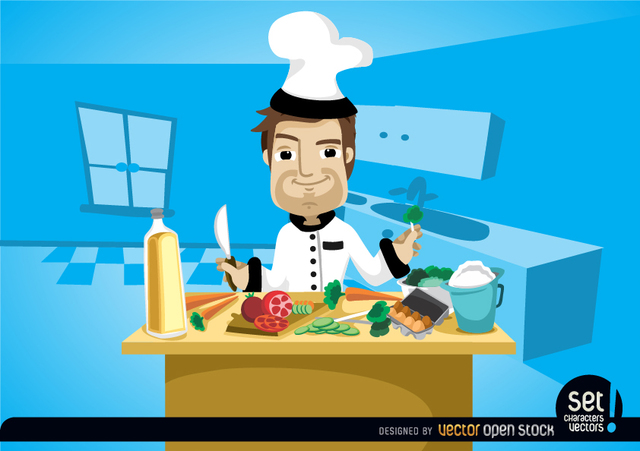 Free Chef cooking on kitchen table