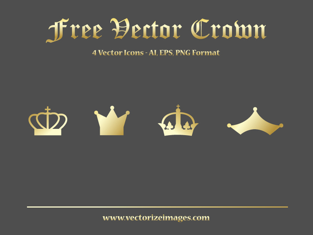 Free 4 Golden Crowns in Flat Style