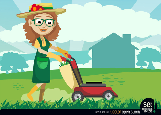 Free Female Gardener with Grass Cutter Machine
