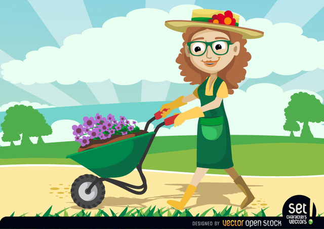Free Gardener Women carrying Plants by Wheelbarrow