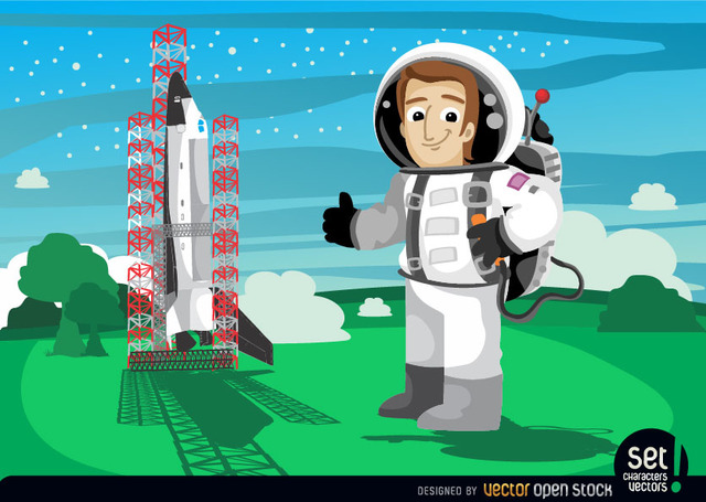 Free astronaut beside space shuttle launch