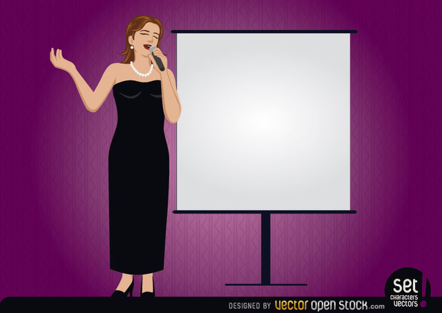 Free Female singer with a presentation screen