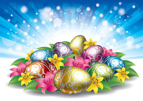 Free Glowing Easter Background with Eggs & Flowers