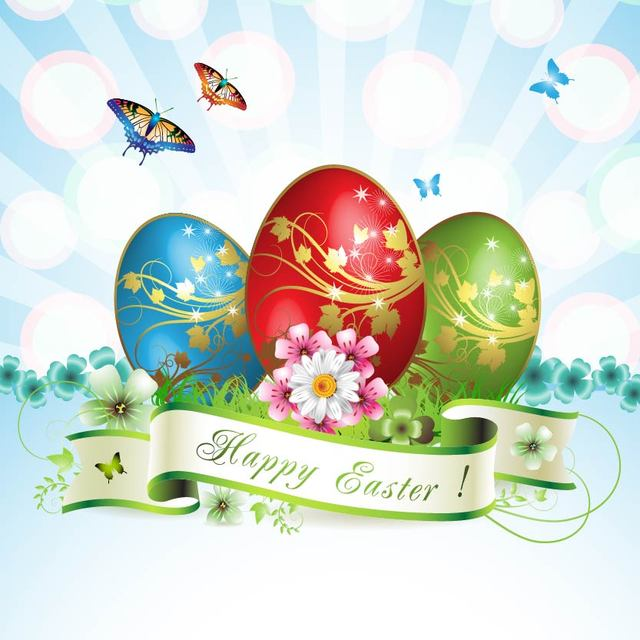 Free Stunning Easter Card with Butterflies & Eggs