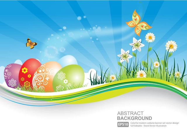 Free Fresh Natural Banner with Easter Eggs
